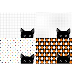 Set Black Cat Background vector image