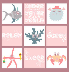 Set of hand-drawn color amusing marine animals vector