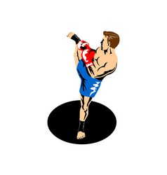 Single Kickboxer Kicking vector
