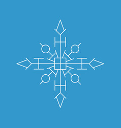 Snowflake icon white silhouette snow flake sign vector