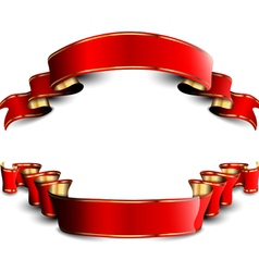 Two red royal ribbons vector image
