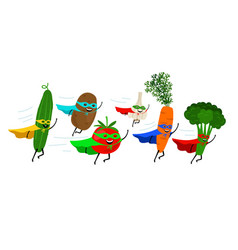 Vegetable super heroes vector