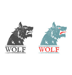 vintage emblem with angry wolf vector image
