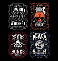 Vintage whiskey label t-shirt graphic collection vector