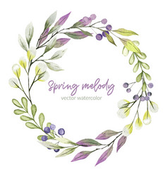 watercolor greenery wreath purple and green tints vector image