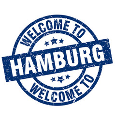 Welcome to hamburg blue stamp vector