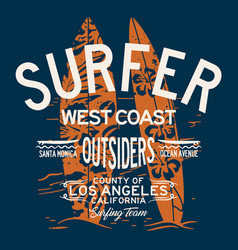 west coast california surfing team vector image