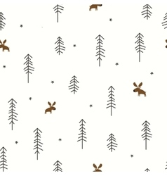 Winter Forest with a Moose vector