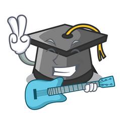 with guitar graduation hat mascot cartoon vector image