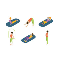 young women doing yoga exercises set girls vector image