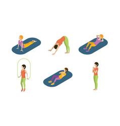 young women doing yoga exercises set girls vector image