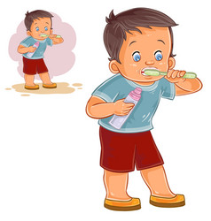 a little boy brushing his vector image