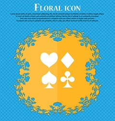 card suit Icon sign Floral flat design on a blue vector image