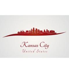 Kansas City skyline in red vector image