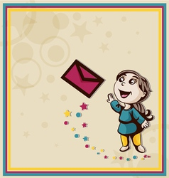 postcard with girl and letter vector image