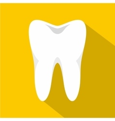 White tooth icon flat style vector image