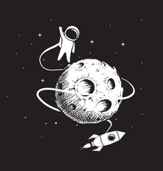 astronaut with spaceship and moon vector image vector image