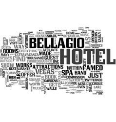 bellagio hotel text word cloud concept vector image vector image