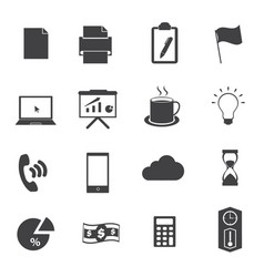 business office icons set vector image vector image