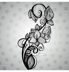 Butterfly sitting on a flower with swirls vector image