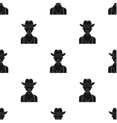 cowboy icon in black style isolated on white vector image vector image