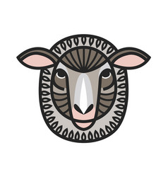 drawing head of sheep vector image vector image