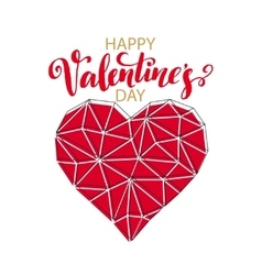 Geometric Mosaic Heart Template for Valentines vector image vector image