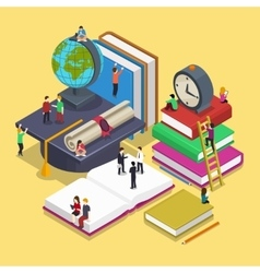 Isometric education graduation concept with people vector image vector image