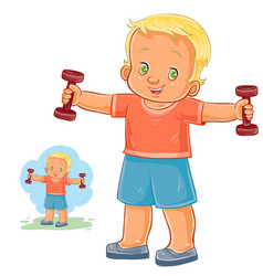 Little boy doing morning exercise with vector
