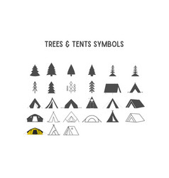 trees and tent shapes elements for creatio vector image vector image