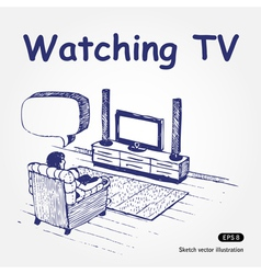 Watching TV vector image vector image