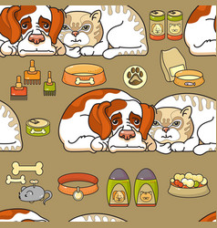 Cartoon dog and cat seamless pattern on vector