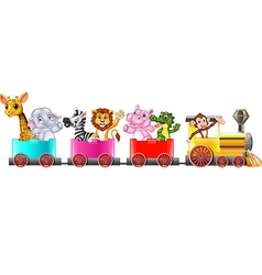 Cute africa animal on train vector image vector image