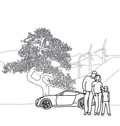 family with tree and car sketch vector image