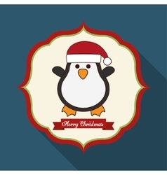 Kawaii penguin of christmas season vector