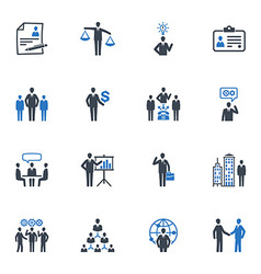 Management and human resource icons - blue series vector