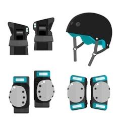 Set of flat roller skating protective gear vector
