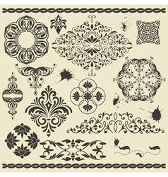 Set of floral design elements and blots vector