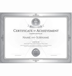 Certificate of achievement template with award vector