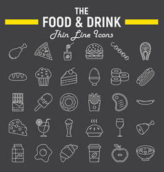 food and drink line icon set meal sign collection vector image vector image