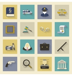 Law and justice flat icons set with shadows vector image