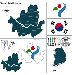 seoul special metropolitan city south korea vector image vector image
