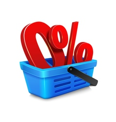 shopping cart with a zero percent within the baske vector image vector image