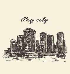skyline skyscrapers big city concep drawn vector image