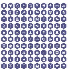 100 dress icons hexagon purple vector image