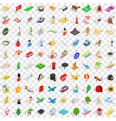 100 travel landmarks icons set isometric 3d style vector