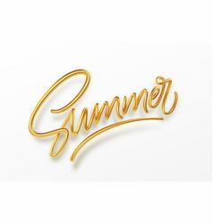 3d realistic golden shiny metallic summer vector image