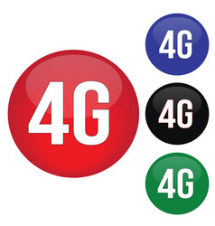 4g round website glossy buttons set vector image