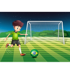 A player kicking ball with flag brazil vector
