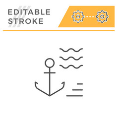 anchor editable stroke line icon vector image